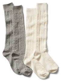 Cable over-the-knee socks (2-pack)