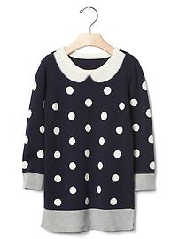 Intarsia collar sweater dress