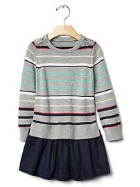 Mix-fabric stripe dress