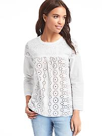 Long sleeve eyelet top