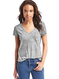 Vintage wash sueded V-neck tee