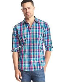 True wash multi-plaid slim fit shirt