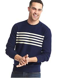 Chest-stripe crew sweater