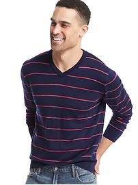 Merino wool stripe V-neck sweater