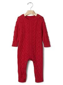 Cable knit sweater one-piece