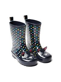 Kitten dot rainboots