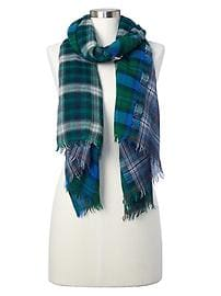 Wool plaid scarf