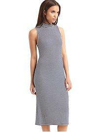 Ribbed mockneck midi dress