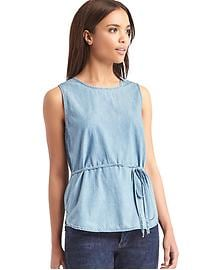 1969 denim open-back wrap tank