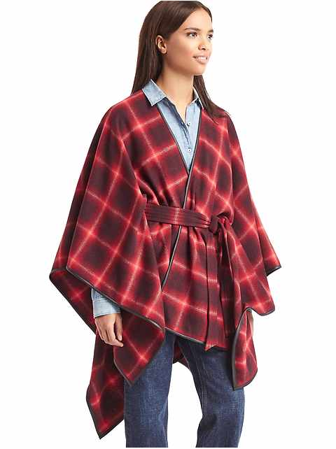 Plaid blanket cape