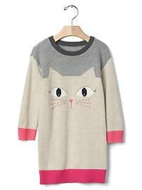Intarsia cat sweater dress