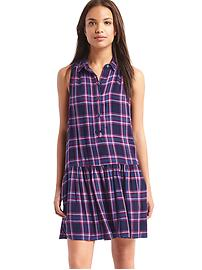 Plaid drop waist dress