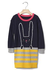 Intarsia bunny sweater dress
