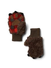 Cozy plaid bear mittens