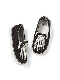 Skeleton glow-in-the-dark slip-on sneakers