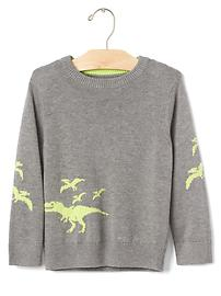 Intarsia graphic crew sweater