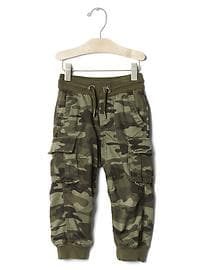 Jersey-lined camo cargo joggers