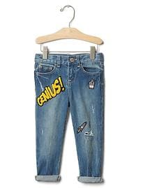 1969 graphic patch girlfriend jeans