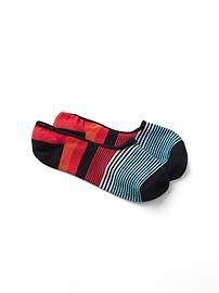 Variegated stripe no show socks
