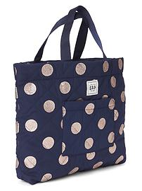 Quilted stripe graphic tote