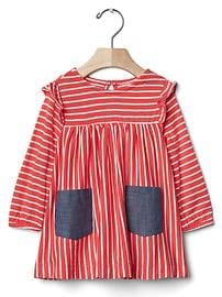 Stripe flutter pocket dress