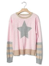 Intarsia graphic colorblock sweater