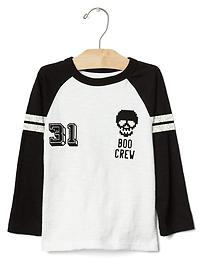 Spooky graphic baseball tee