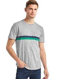 Double stripe crew tee