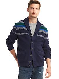 Ribbed shawl collar cardigan
