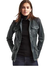 Leather utility moto jacket