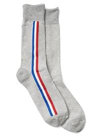 Vertical stripe crew socks