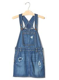 1969 rip & repair denim skirt overalls