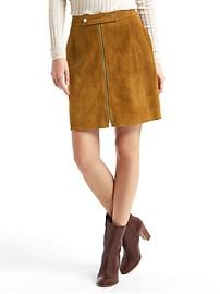 Suede zip skirt