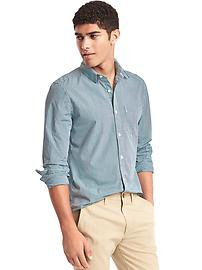 True wash micro plaid slim fit shirt