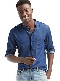 Chambray banded shirt