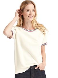 Stripe-trim short sleeve sweatshirt