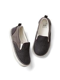 Mix-texture slip-on sneakers