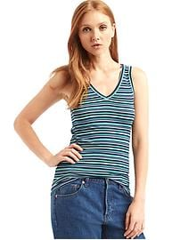 Ribbed V-neck stripe tank