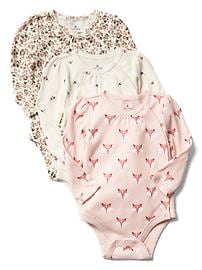 Raccoon picot-trim bodysuit (3-pack)