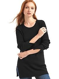 Cozy ribbed slit tunic