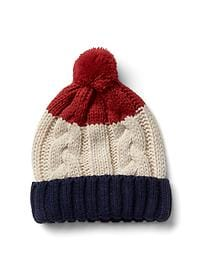 Striped pom-pom beanie