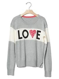 Embellished intarsia love sweater