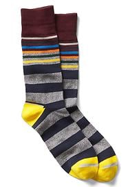 Multi-color stripe crew socks
