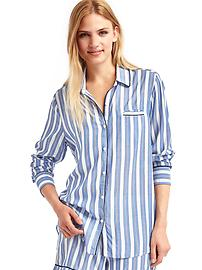 Piping long sleeve sleep shirt