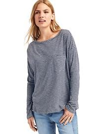 Boatneck stripe long sleeve tee