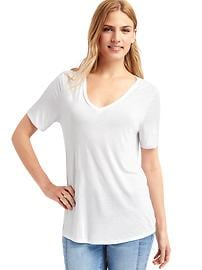 Shirred V-neck tee