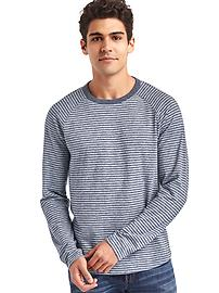 Marled long sleeve stripe tee