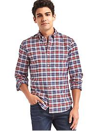 Oxford multi plaid slim fit shirt
