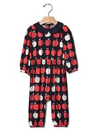 Polka dot apples collar one-piece