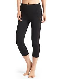 GapFit Blackout Technology mesh-stripe high rise capris